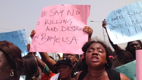New Comment - Photos: Protesters Besiege INEC Office In Bayelsa, Call For Cancellation Of Election