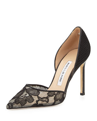 Manolo blahnik black and fishnet and lace d'orsay heels