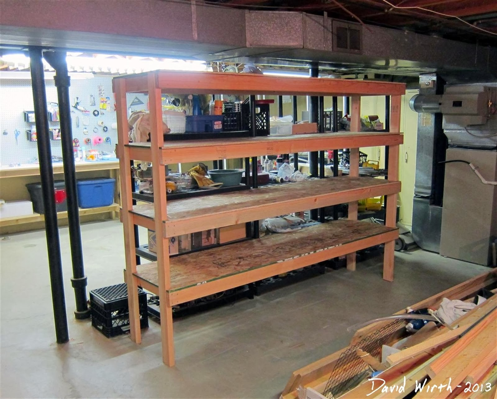 how to build a basement shelf, organize, wood, 2x4