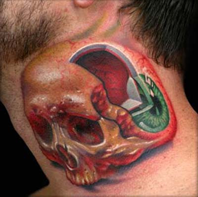 3D Tattoo on Neck