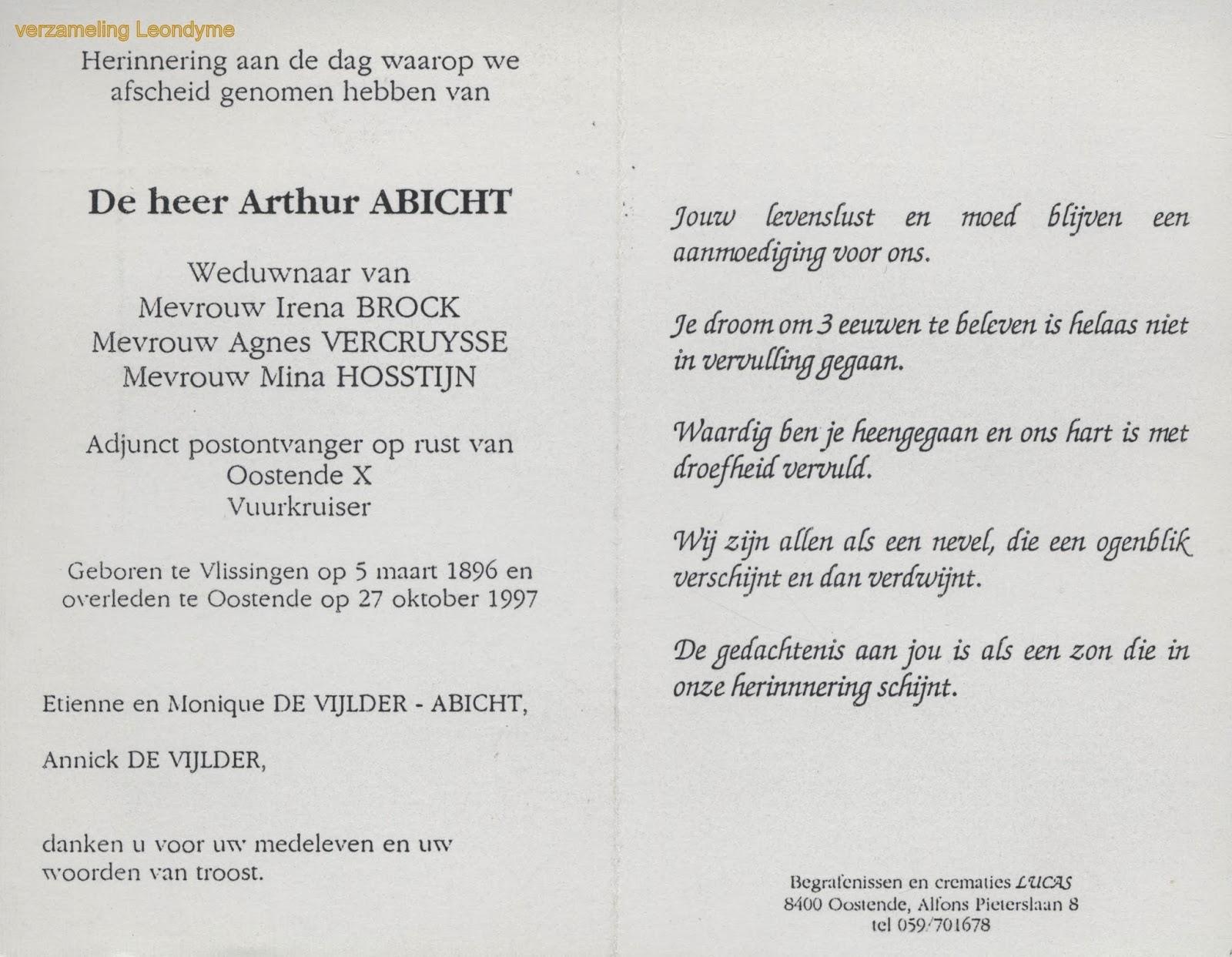 Bidprentje Arthur Abicht 1896-1997.