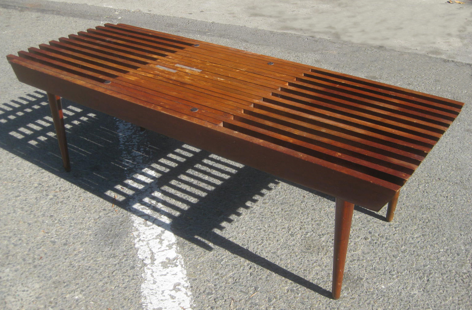 Uhuru Furniture Collectibles Sold Slatted Danish Coffee Table 70