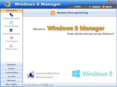 تحميل برنامج Windows 8 Manager مجانا لتنظيف و اصلاح أخطاء الويندز
