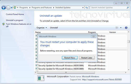 Pemberitahuan untuk restart komputer