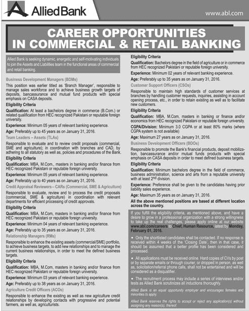 Commercial and Retail Banking jobs 2016 latest