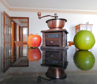 O que não pode faltar no balcão da cozinha: maçã, café e laranja.