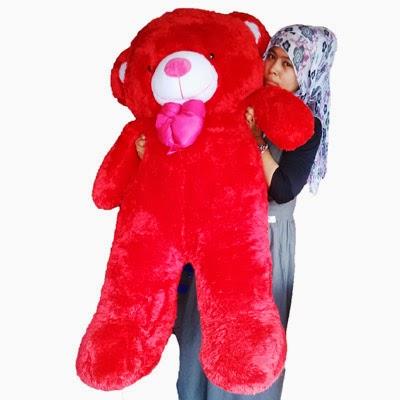 jual boneka teddy bear besar merah