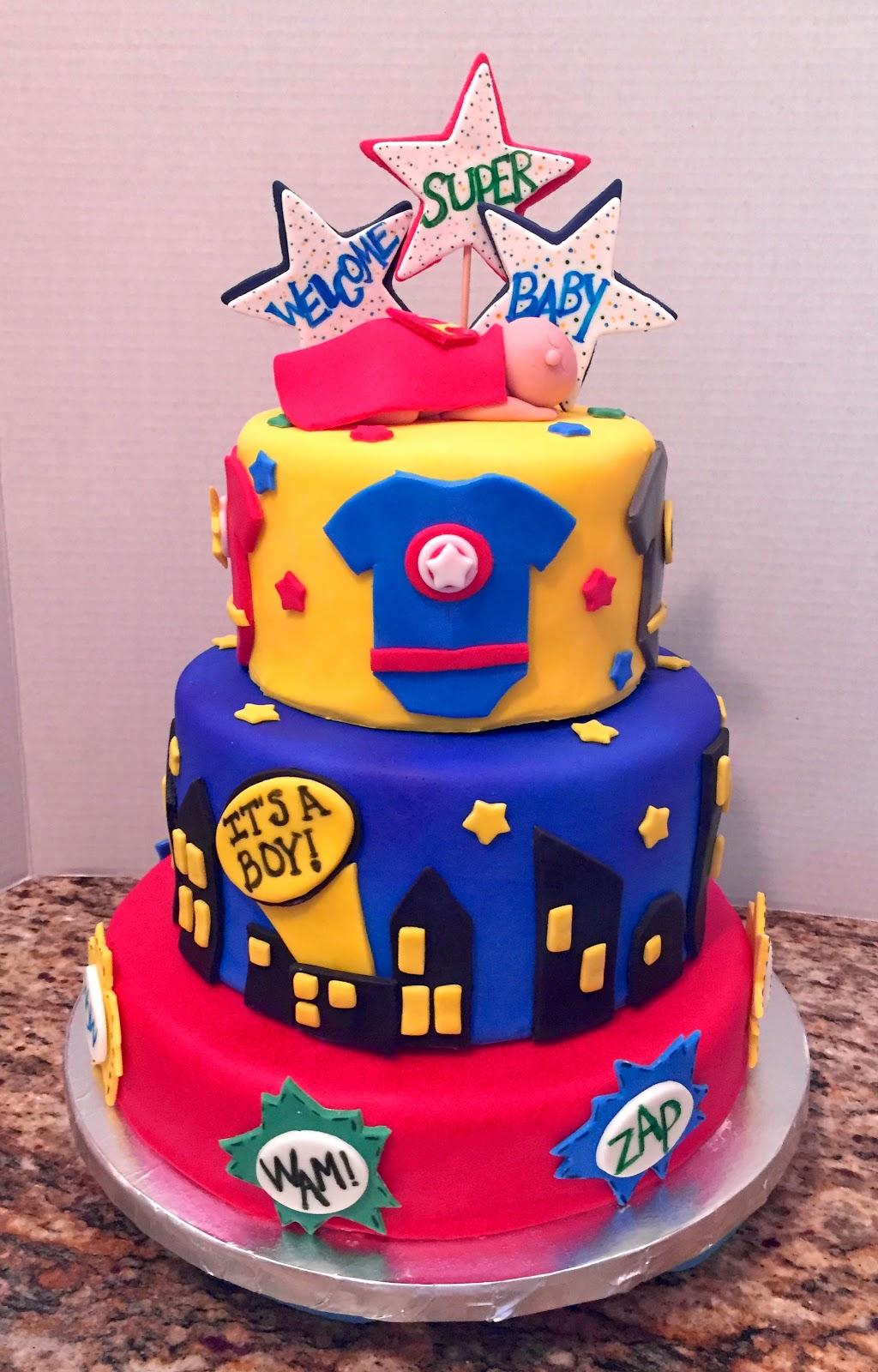 superhero baby shower cakes