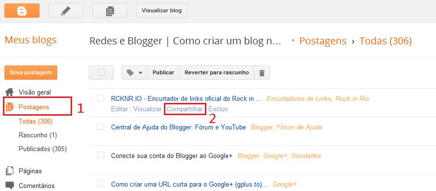 Compartilhar postagem do Blogger ao Google+