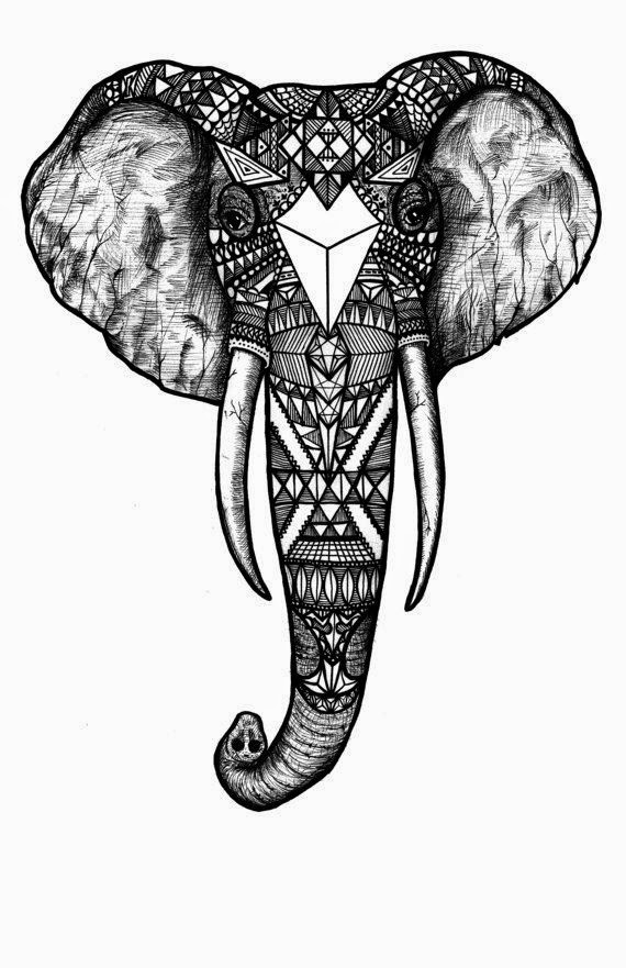 ♥ ♫ ♥ Pattern Elephant, Black and White, Black and White Digital Art Print of an Original Fine Art Line Drawing ♥ ♫ ♥