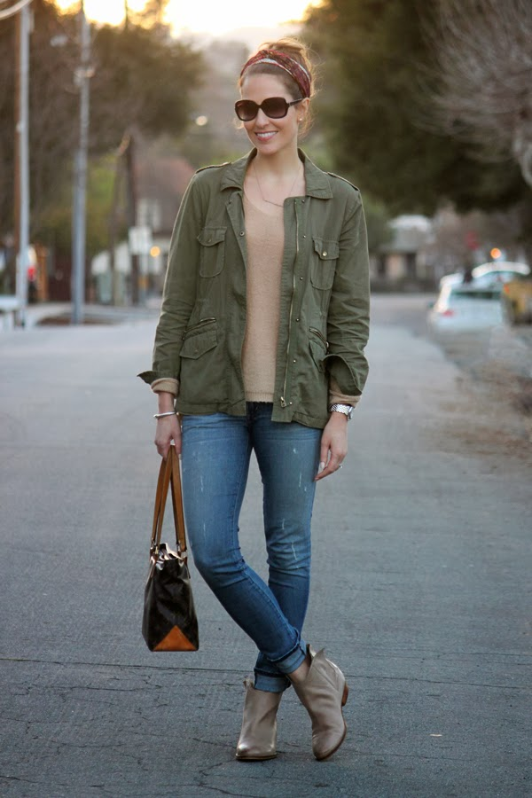 Weekend style: head scarf, fatigue jacket, jeans & ankle booties