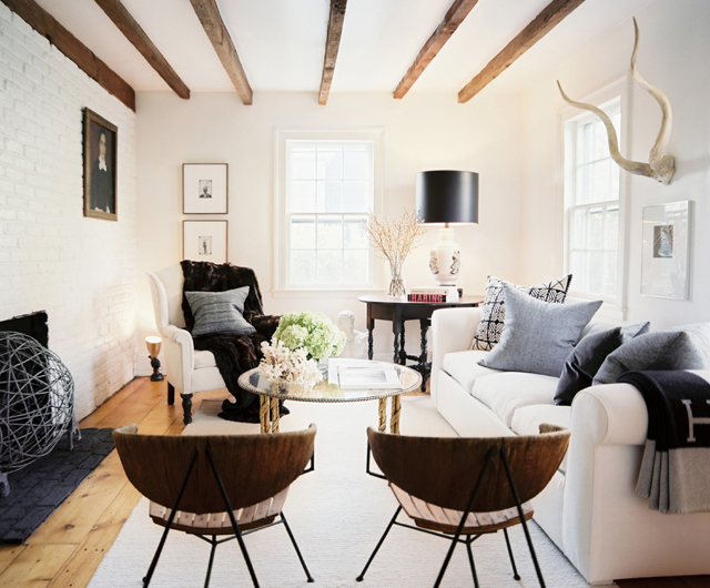 home decor, living room, ceiling beams