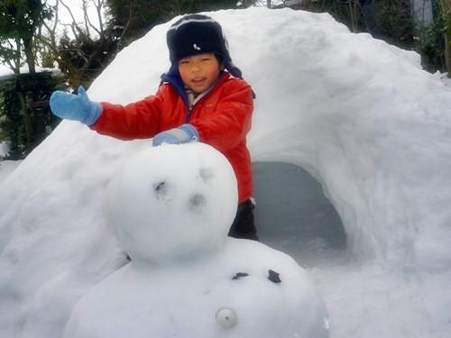 バリ島へむけて出発直前に雪遊び