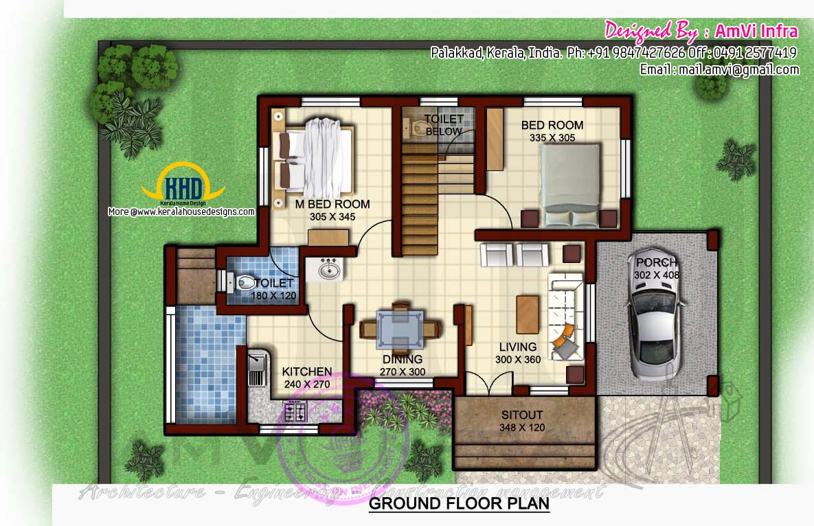 1170 square feet floor plan and elevation kerala home for 2 bedroom ground floor plan