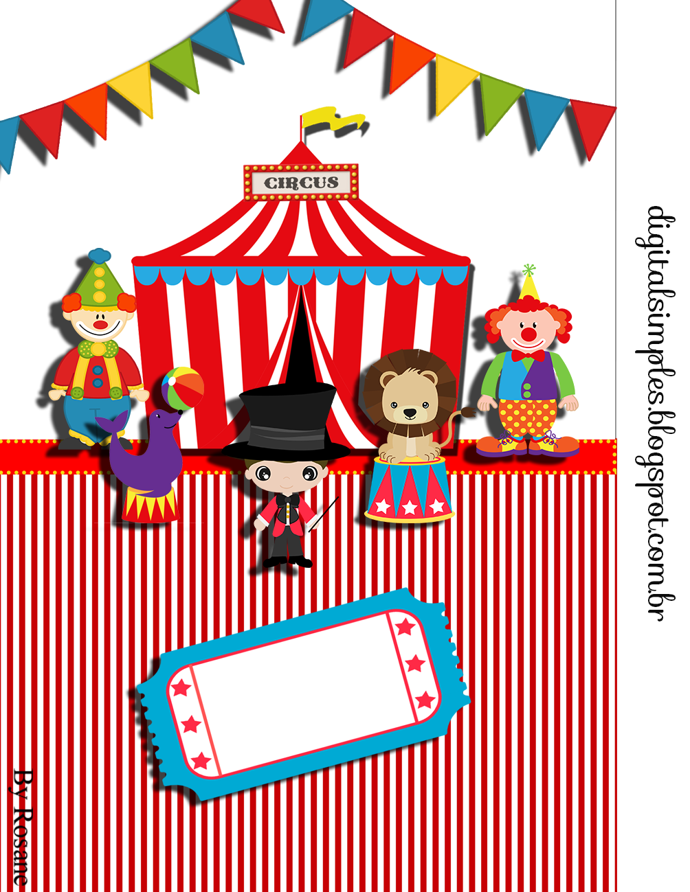 Circus party party printables and simple on pinterest for Circus printables