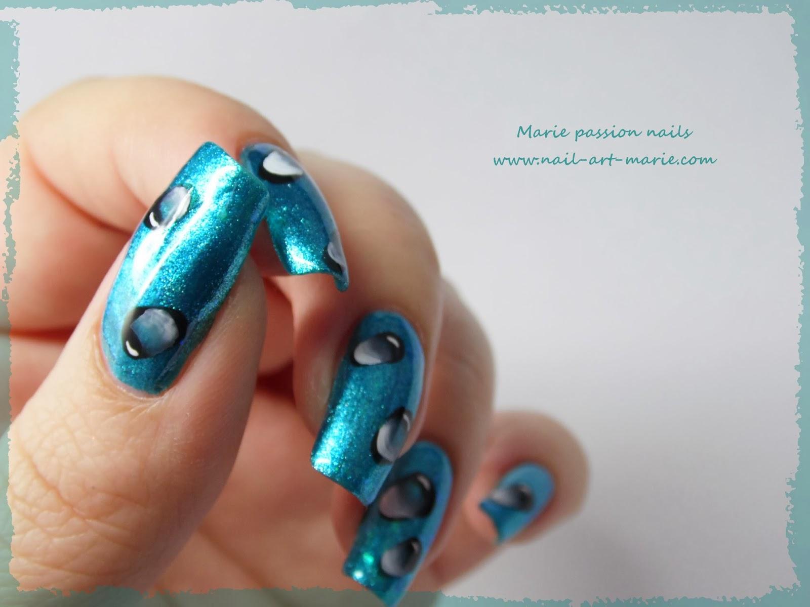 Nail Art gouttes d'eau en one stroke2
