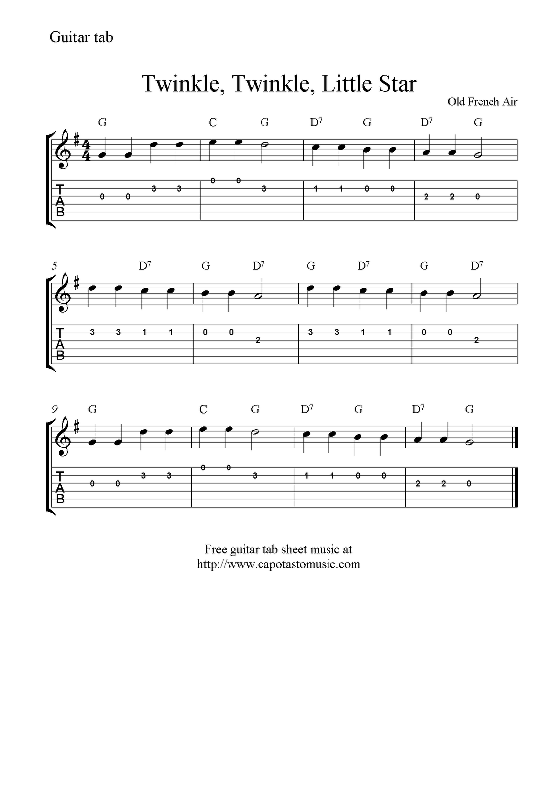 Twinkle, Twinkle, Little Star, free easy guitar tab sheet music