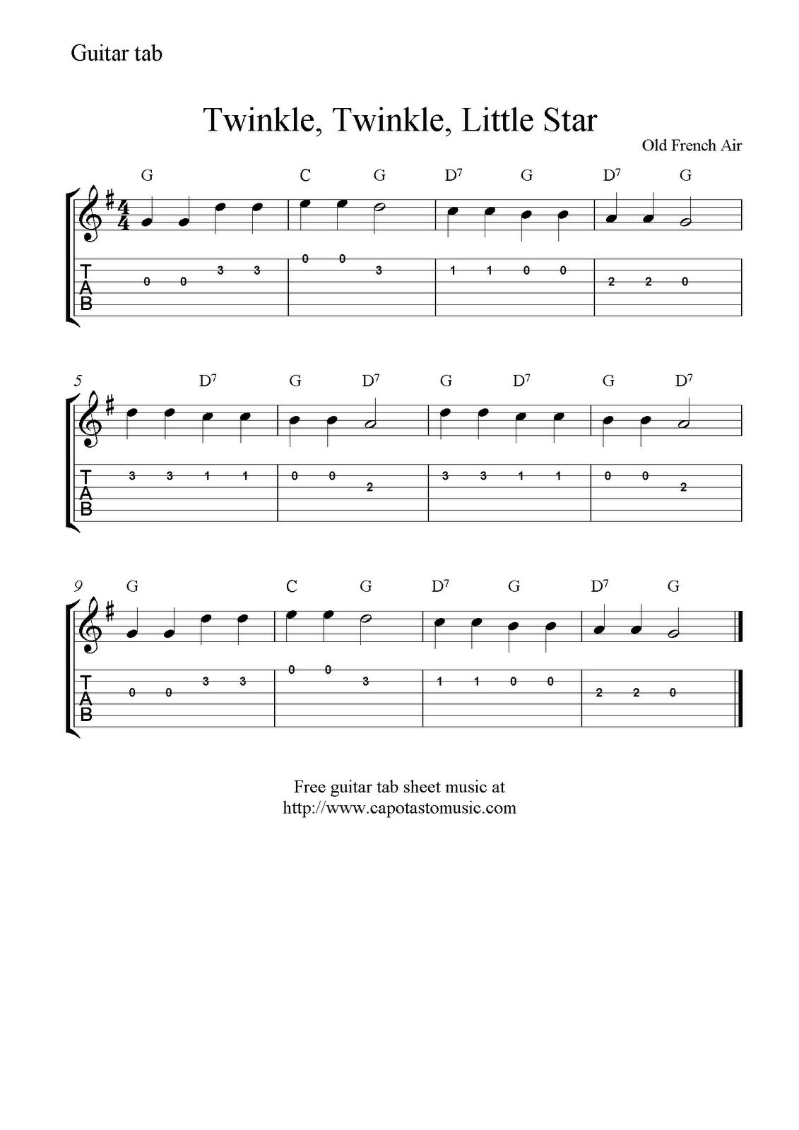 Twinkle, Twinkle, Little Star, free easy guitar tab sheet music