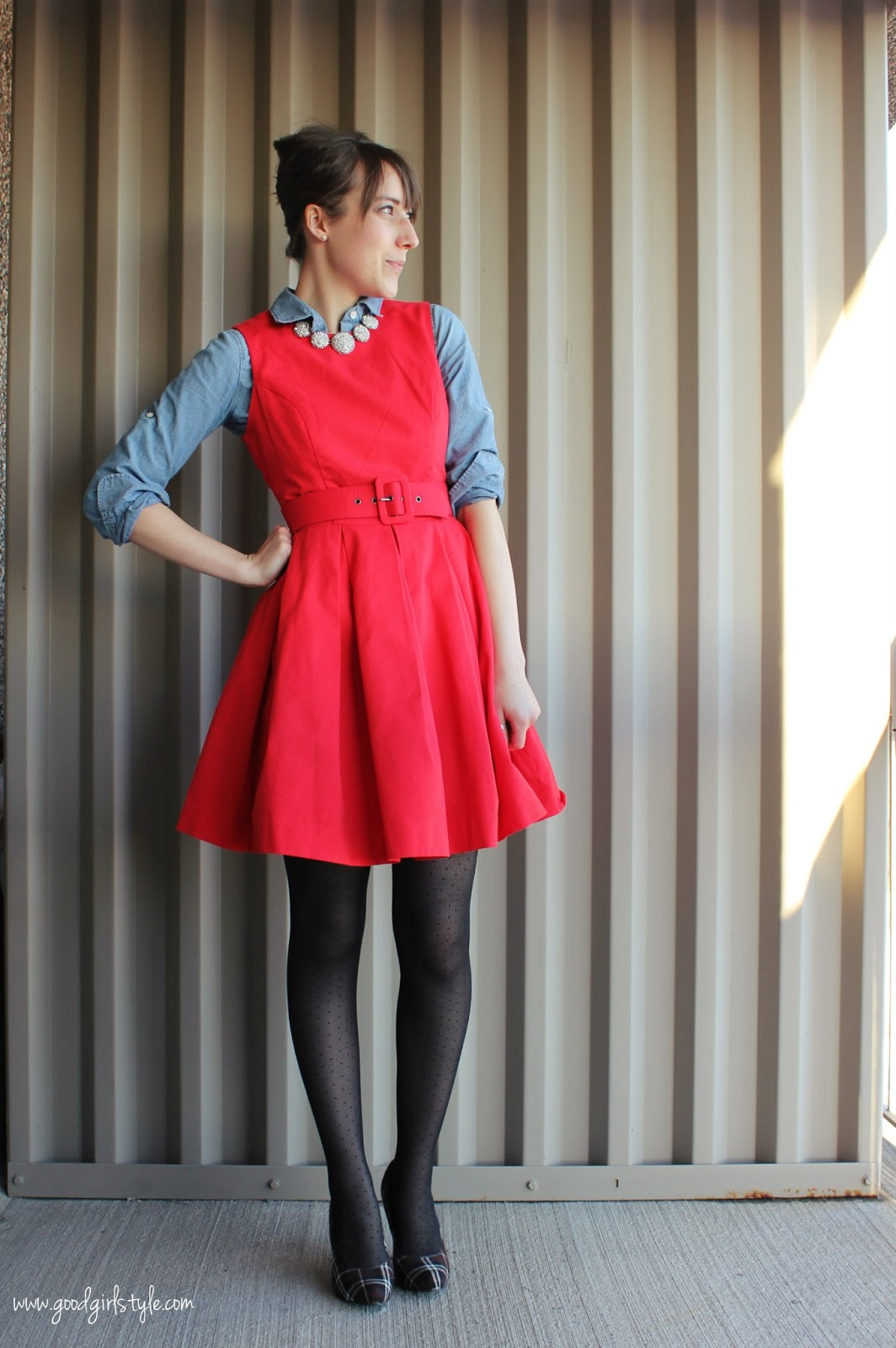 good girl style wearing skirts tights in winter updated version