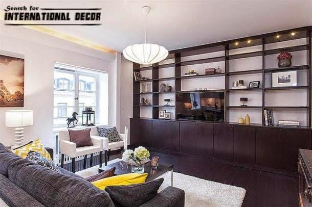 contemporary interior design, contemporary living room, wall shelves
