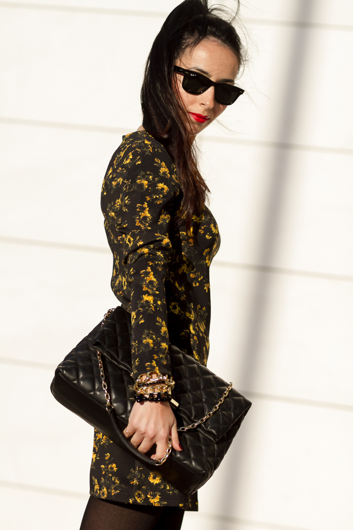 Yellow and Black Floral Neoprene Dress and Quilted Leather Bag by Zara