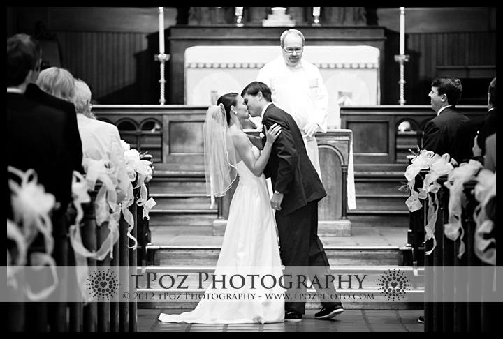 First Kiss at St. Anne's Episcopal Church Wedding