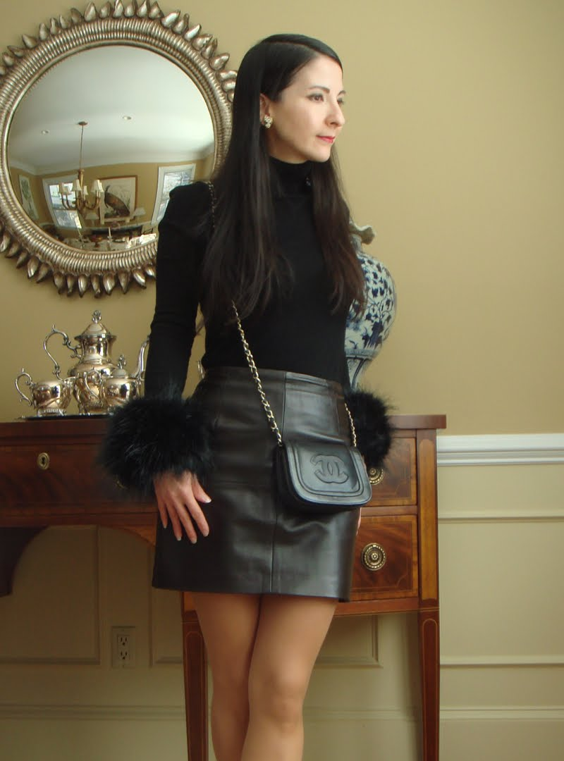 Closer view of side of outfit with faux fur cuffs.