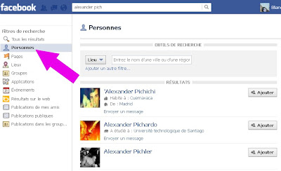 Recherche des filles sur facebook