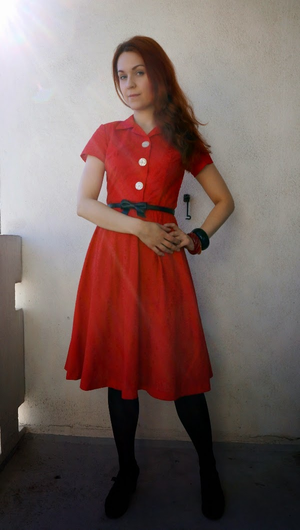 50s style shirt waist dress in red cotton by cherise