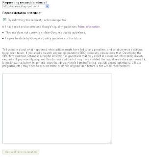 Reconsideration request solusi mengatasi masalah blog di Google