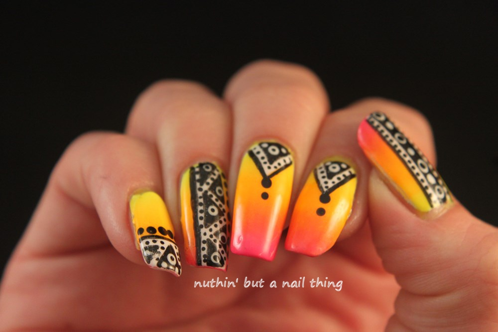 Nuthin but a nail thing bright tribal nail art bright tribal nail art bright tribal nail art prinsesfo Image collections