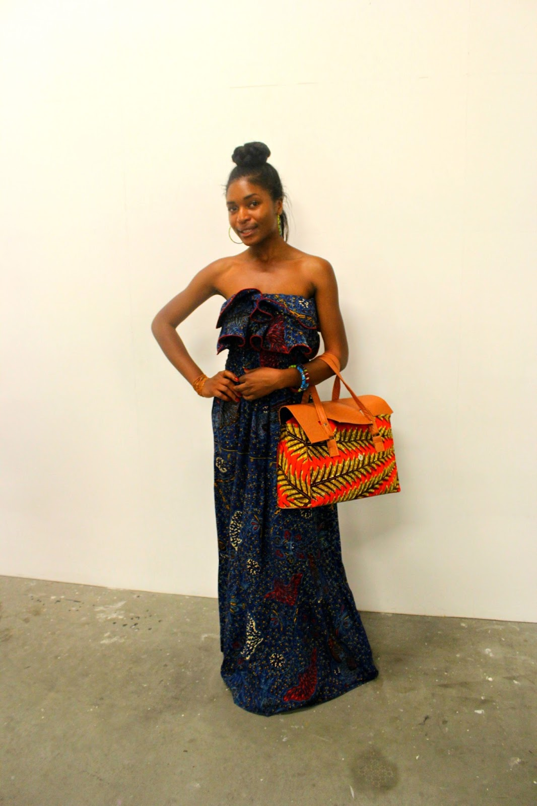 African print dress and bag