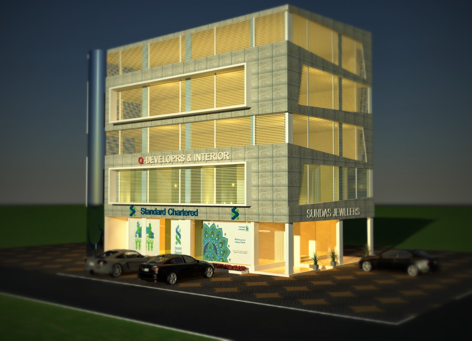 Corner  Commercial Plaza & Offices + Shops Design in Sector C, Commercial Zone, Bahria Town,