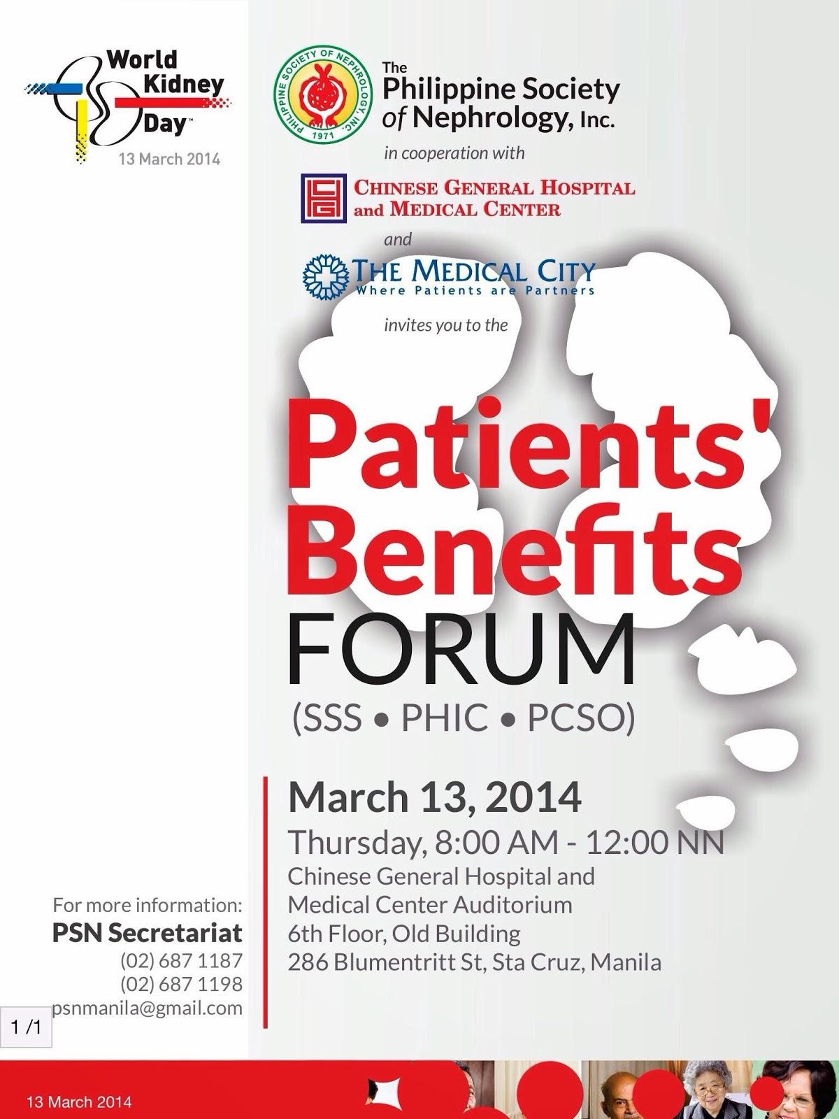 Patients Benefits Forum (SSS . PHIC . PCSO)