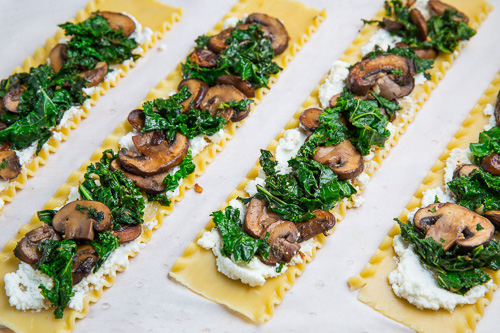 Mushroom and Kale Lasagna Roll Ups in Creamy Gorgonzola Cauliflower ...