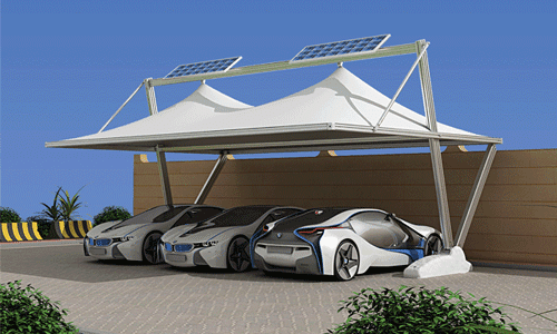 SMART SHADE With SOLAR SYSTEM & Bait Al Nokhada Tents u0026 Shades: Car Parking Shades from Bait Al ...