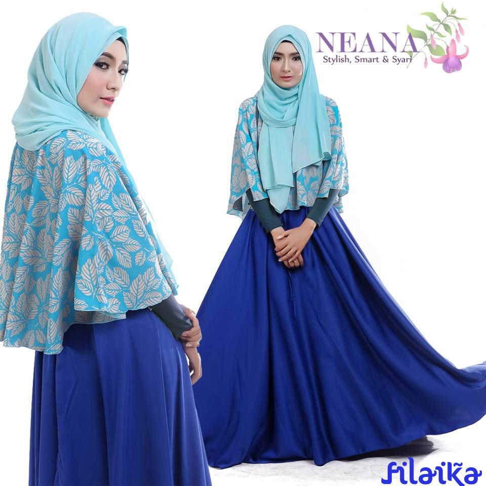 Neana Dark Blue Model Baju Muslim Modern Syari Untuk Anak Muda Hijab