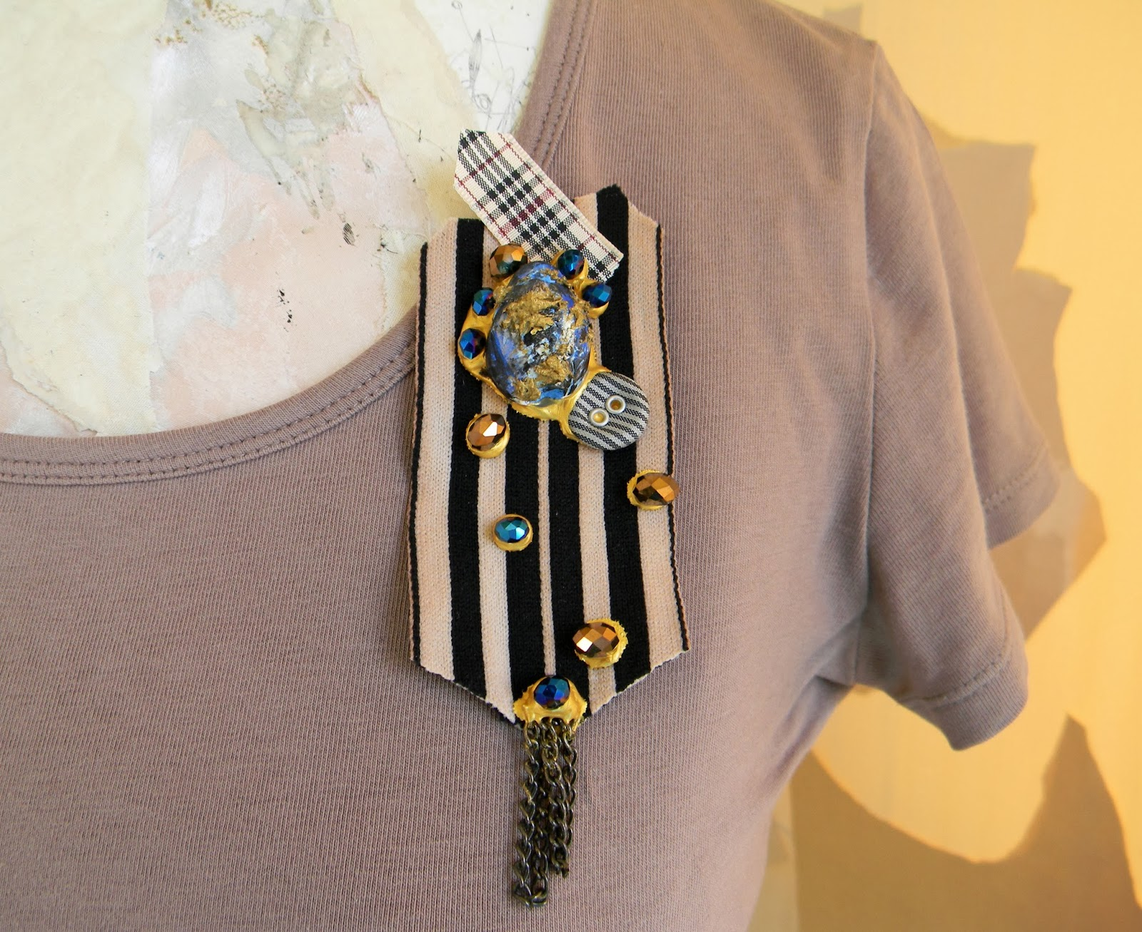 Unique handmade Gothic Steampunk Brooch Striped Textile Pin with Applique