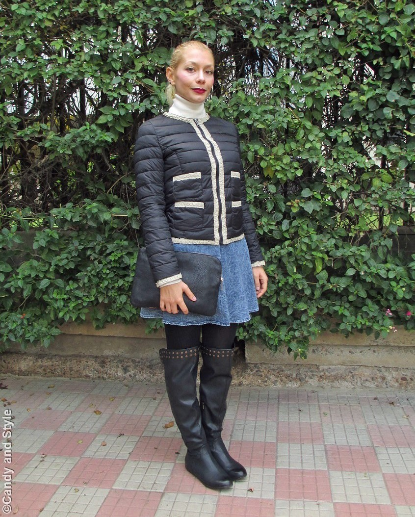 LightDownJacket, TurtleneckSweater, DenimSkirt, Overknees, Clutch, HighPonytail, BurgundyLips - Lilli Candy and Style Fashion Blog
