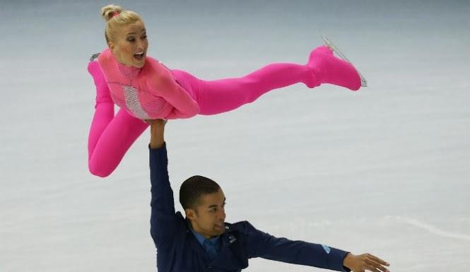 Aliona Savchenko In Action, Aliona Savchenko in pink, Aliona Savchenko