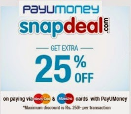 (Expired) Shop @ Snapdeal and Get 25% Extra Discount (Max discount Rs.250)  No Minimum Purchase