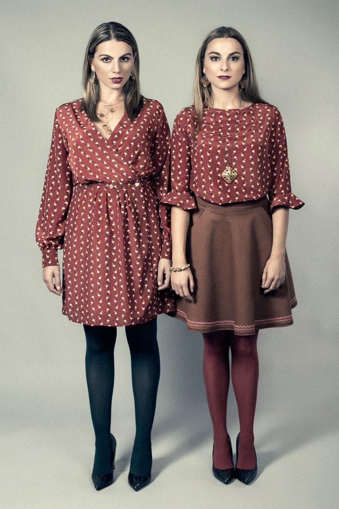 vestido estampado manzanas. blusa estampada mangas volante. moda sostenible. made in spain