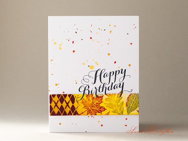 Birthday Card with Leaf Prints from Papertrey Ink by Sweet Kobylkin