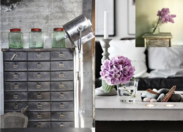 mueble industriales y flores lilas