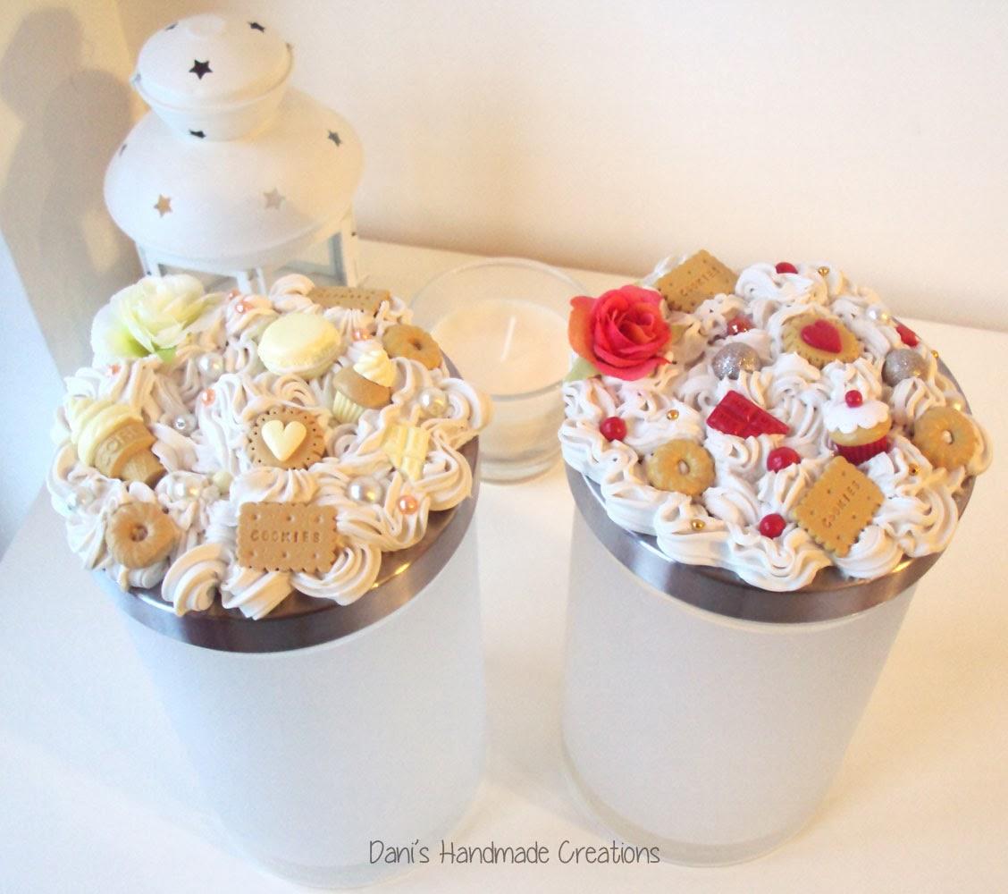Dani 39 s handmade creations barattoli porta biscotti e porta pasta decorati con panna e dolci in - Barattoli pasta cucina ...