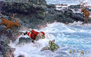 Le Père Noël avec la tortue sur l'île de la Réunion