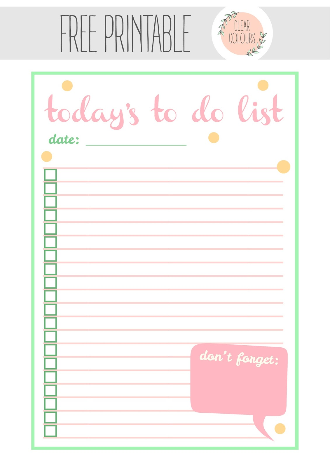 Clear colours free printables to do list for Diy to do list template