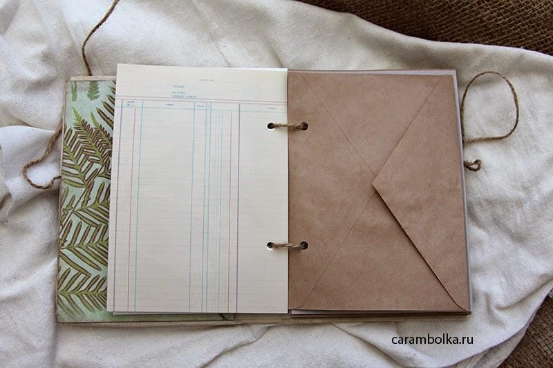 Блокнот ручной работы для записей и зарисовок. Твердая книжная обложка. Материалы из магазина www.scrapbookshop.ru.