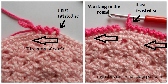 Twisted Single Crochet- Written Instructions, phototutorial & link to video