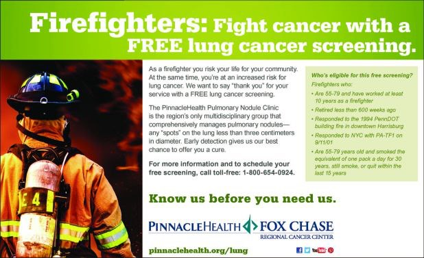 Firefighters: fight cancer with a free lung cancer screening at PinnacleHealth
